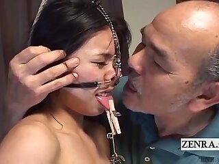 Extreme Japanese BDSM with nose hooks and clamps Subtitled