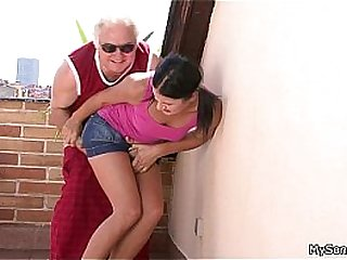 Young pussy had old sagging cock