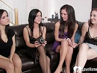 Horny lesbians have the best orgy in their life on a black couch.