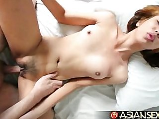 Big white cock unloads over young Filipina cuties face