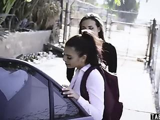 Schoolgirl taken and drilled by deranged married pair