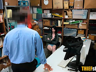 Large titted legal age teenager shoplifter drilled by a security guard