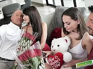 Teens Aften Opal and Hime Marie gets their mouths plug with cocks as their valentines date