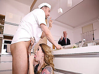 Misha Cross drop to her knees and blowjob the chefs man meat
