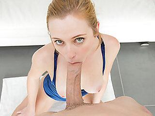 Innocent Looking Slut takes Hueg White Cock