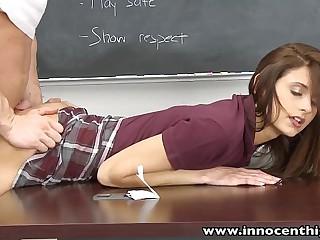 InnocentHigh Smalltits schoolgirl teen rides teachers cock