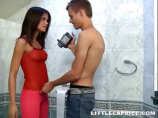 Little Caprice caught pissing & fucks on camera right in the toilet room
