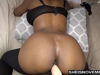 Hottest Black Cam Model Msnovember Pounding Her Coochi On Fat White Dildo Dick HD Sheisnovember