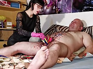 Young mistress gives painful cbt for her old fat slave pt2 HD