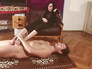 Dominant sister humiliate and footjob her brother pt2 HD